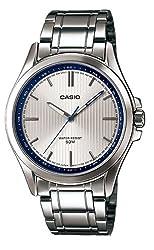 Casio #MTP-E104D-7AV Men's Standard Analog Stainless Steel 50M Silver Dial Watch
