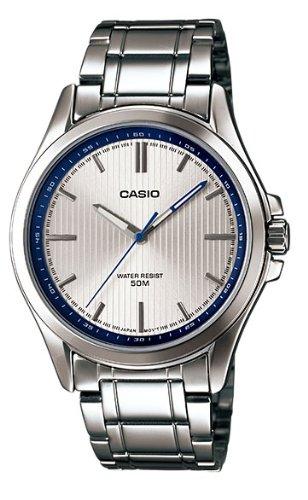 - Casio #MTP-E104D-7AV Men's Standard Analog Stainless Steel 50M Silver Dial Watch