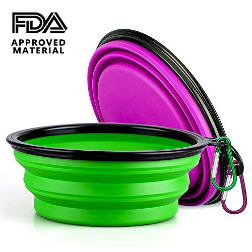 Portable Pet Bowls, Aklion Collapsible Dog Travel Bowls 2 Pack Food Grade Safe BPA Silicone Easy Clean Foldable Dog Dish for Camping Travel Hiking - Free Carabiners