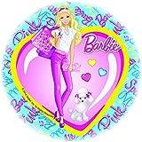 Disque azyme diamètre 21cm Barbie pour décoration de gâteau à l'unité - Les gourmandises de Heidi (Barbie coeur)