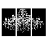 Visual Art Decor 3 Pieces Canvas Prints Crystal Chandelier on Black Background Picture Modern Home and Office Wall Art Decoration Ready to Hang (16''x32''x3)