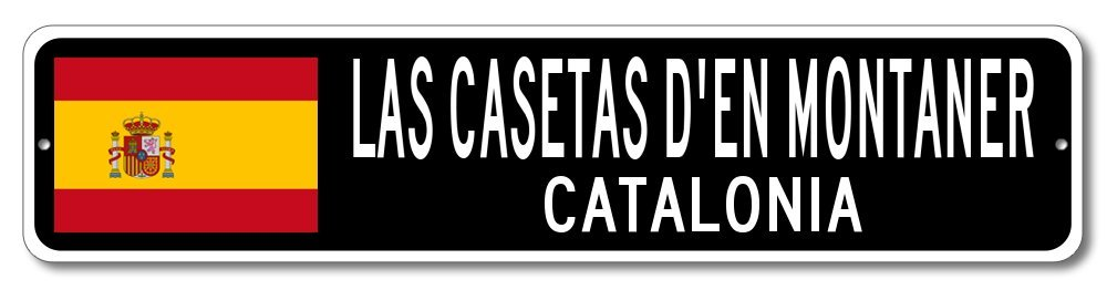 Amazon.com: Spain Flag Sign - LAS CASETAS DEN MONTANER, CATALONIA - Spanish Custom Flag Sign - 4