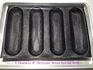 silicone perforated Bread Baking Forms 4 channels Sub roll bread baking tray woven glass fabric bread mold.