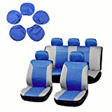 cciyu Seat Cover Universal Car Seat Cushion w/Headrest - 100% Breathable Washable Automotive Seat Covers Replacement Replacement fit for Most Cars Trucks Vans(Blue on Gray)