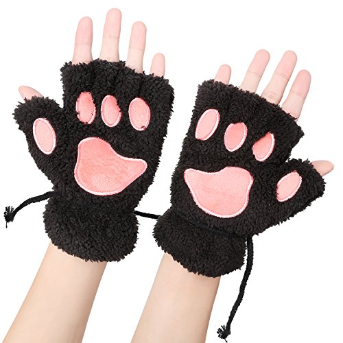 Odema Womens Bear Plush Cat Paw Claw Glove Soft Winter Fingerless Mitten Gloves