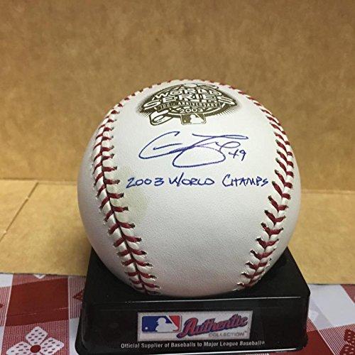 2003 All Star Baseball Ball - CHAD FOX MARLINS 2003 W.S. BALL M.L. SIGNED BASEBALL W/COA