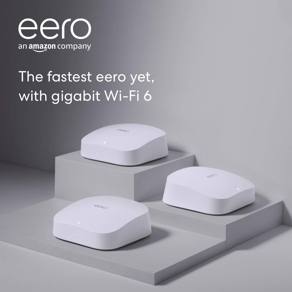 Introducing Amazon eero Pro 6 tri-band mesh Wi-Fi 6 system with built-in Zigbee smart home hub (3-pack)