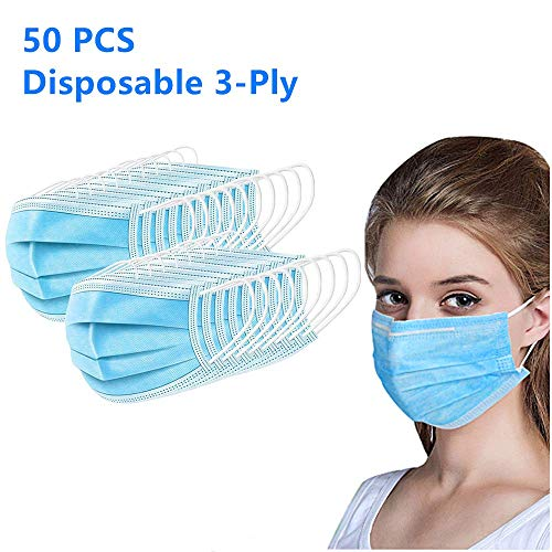 50 PCS 3-Ply Disposable Personal Care Mouth Cover Face Cover with Earloops Protective for Dust,Pollen(Blue)
