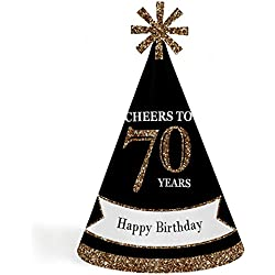 Adults 70th Birthday - Gold - Cone Birthday Party Hats for Kids and Adults - Set of 8 (Standard Size)