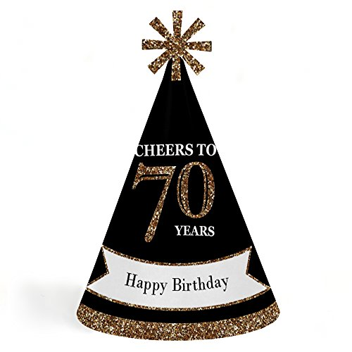Adults 70th Birthday - Gold - Cone Birthday Party Hats for Kids and Adults - Set of 8 (Standard Size) by Big Dot of Happiness