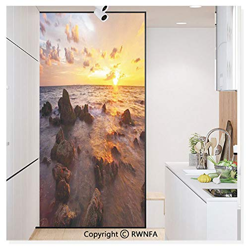 - Decorative Window Film,Sunrise on The Beach Colorful Clouds Stones Exotic Journey Tranquil Scenic Picture Static Cling Glass Film,No Glue/Anti UV Window Paper for Bathroom,Office,Meeting Room,Bedroom