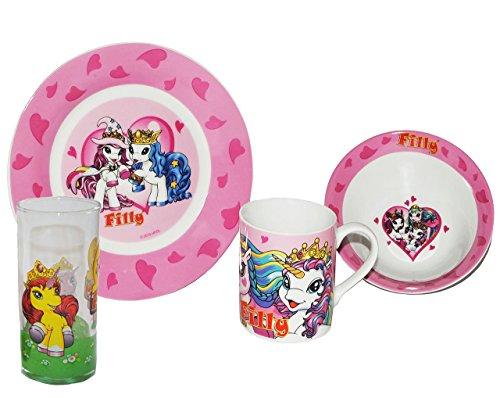 4 tlg. Geschirrset Filly Pferd Porzellan - Keramik Trinktasse + Teller + Müslischale + Trinkglas - Kindergeschirr - Frühstücksset Mädchen - Geschirrset