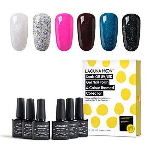 Lagunamoon UV LED Gel Nail Polish Soak Off Glitter Gel Polish Nail Varnish Manicure Set 6 Colours