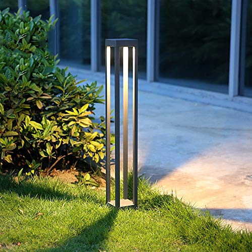 KMYX Luz del Césped LED Resalte Moderno COB Gris Oscuro Cuadrado Aluminio Hogar Piscina Exterior Impermeable IP55...