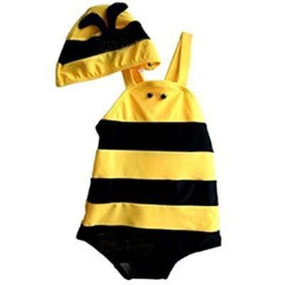 ARAUS Swimsuit Baby Bumble Bee Jumpsuit with Hat Set Swimwear 2 Pack for 8-36M