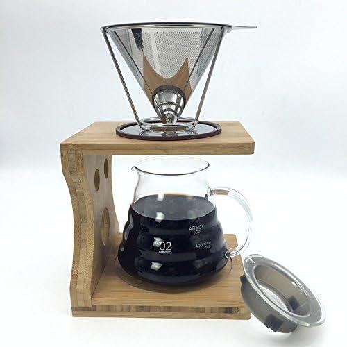 Portátil reutilizable V-Type taza de acero inoxidable cono filtros de café cafetera de goteo eléctrica herramienta: Amazon.es: Hogar