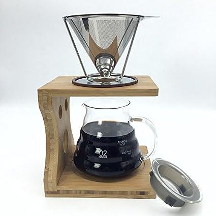 [Envio Gratis] portátil reutilizable V-Type taza de acero inoxidable cono filtros de
