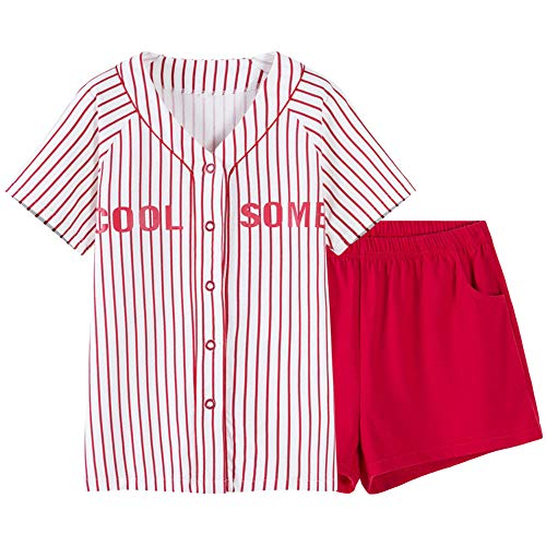 De Usar Mujer Para Se Manga Pijamas Hogar Mmllse Rayas Algodón Pueden El Red Béisbol Corta S1fxU