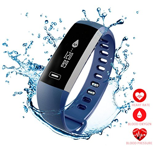 New Smart Fitness Tracker,Smart Watch with Blood Pressure Heart Rate Sleep Pedometer Camera remote shoot Blood Oxygen Monitor Smart Wristband Bracelet READ for Bluetooth Andriod and ios (R5PRO-BLUE)