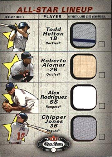 2002 Fleer Box (2002 Fleer Box Score All-Star Lineup Game Used #9 Todd Helton Roberto Alomar Bat Alex Rodriguez Jsy Chipper Jones Jersey - NM-MT)