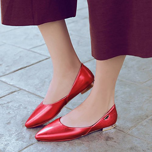 Latasa Kvinna Mode Pekade Tå Klänning Ledig Lägenhet Pumpar Skor Röd