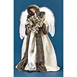 18.5'' Ivory and Faux Fur Angel with Wreath Christmas Tree Topper - Unlit
