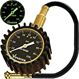 Tire Gauge - (0-100 PSI) Heavy Duty Tire Pressure Gauge. Certified ANSI Accurate with Large 2' Easy to Read Glow Dial, Low - High Air Pressure Tire Gauge for Motorcycle/Car/Truck Tires