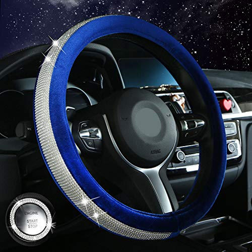 Diamond Bling Steering Wheel Cover for Women Girls, Car Crystal Sparkly Leather Steering Wheel Protector Interior…