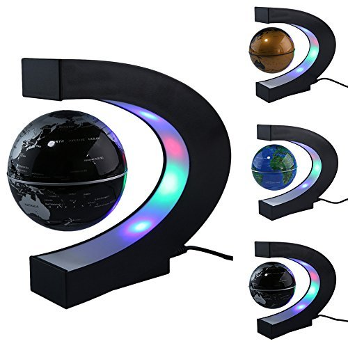FU ZHOU Floating Globe with Colored LED Lights C Shape Anti Gravity Magnetic Levitation Rotating World Map for Children Gift Home Office Desk Decoration (Black)