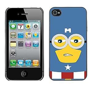 SoulCase / Apple Iphone 4 / 4S / Cute Yellow America Superhero / Delgado Negro Plástico caso cubierta Shell Armor Funda Case Cover