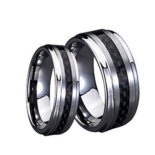 - His & Her's 8MM/6MM Tungsten Carbide Wedding Band Ring Set with Black Carbon Fiber Inlay