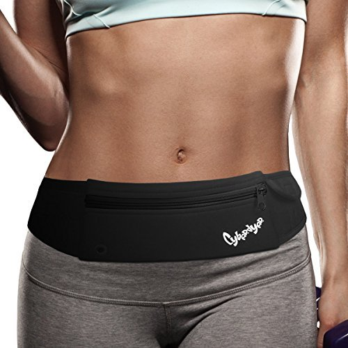 PYFK Running Belt Waist Pack - Adjustable Fanny Pouch for Runners Hands Free Workout - iPhone 6/7 Plus Phone Holder Hiking Gear Marathon for Men and Women (Black(Black))