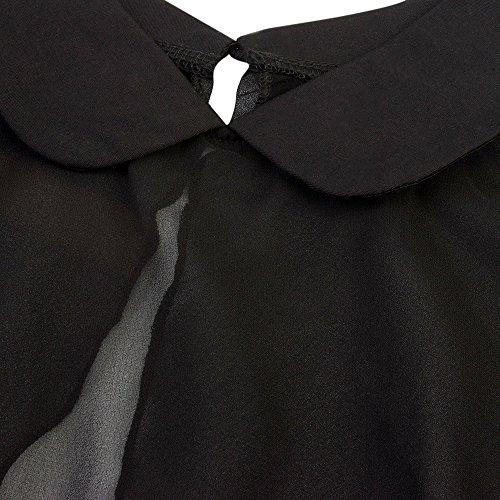 Cape Vintage With Pan Sheer Dress CharMma Collar Black Peter Mesh Women's Up Pin gw5qSP5