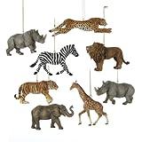 Kurt Adler Resin Safari Animal Ornament Set of 8