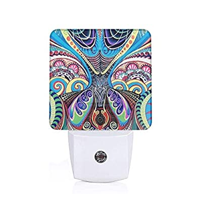 Laoyaotequ Psychedelic Trippy Art Plug-in Night Light, Smart Dusk to Dawn Sensor, White LED Nightlight, Bedroom Bathroom Hallway Kitchen Stairs Kids Nursery