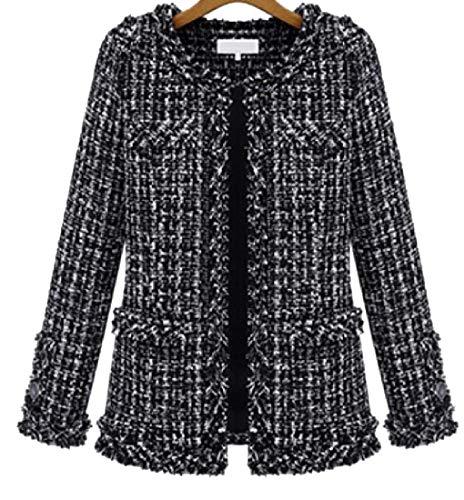 (omniscient Women's Coat Long Sleeve Round Neck Plus Size Gorgeous Tweed Jackets Black XXL)