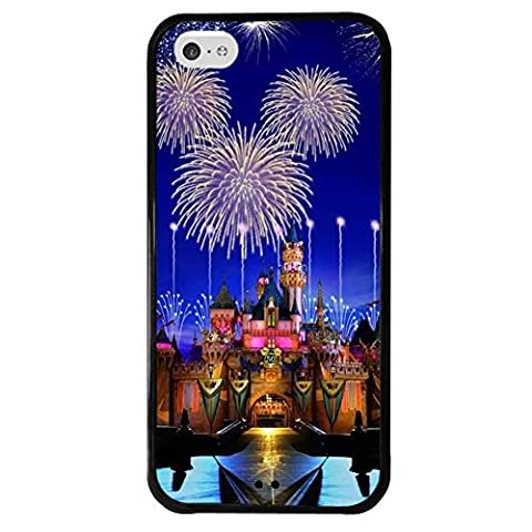 iPhone 5c case, Onelee Disney Cartoon Movie Disney Castle Tire tread pattern TPU Rubber Black iPhone 5c Case Neverfade Scratchproof (Disney Cell Phone Cases Iphone 5c)