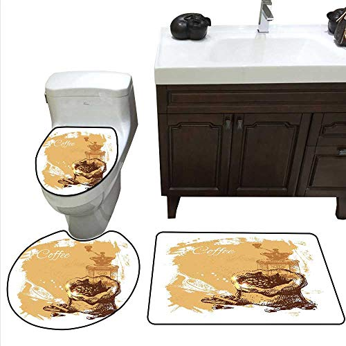Chicago Cubs Bean Bag - Coffee Bath mat and Toilet mat Set Vintage Sketch Art an Antique Mill and Bag of Beans with Cinnamon Sticks Bathroom Toilet mat Set Brown Pale Brown White