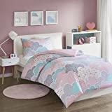 SCM Cloud Printed Duvet Cover Set Single Size - Playful Design Cute and Fluffy Clouds - 2 Pcs Ultra Soft Hypoallergenic 100% Cotton Children's Bedding (Pink, Single)
