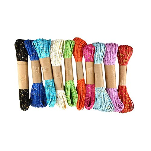 Giveet Colorful Raffia Stripes Paper String with Gold for DIY Making and Craft Decorating Tool, 10 Yards of Each Color, 10 PACKS, 10 Colors - New Version