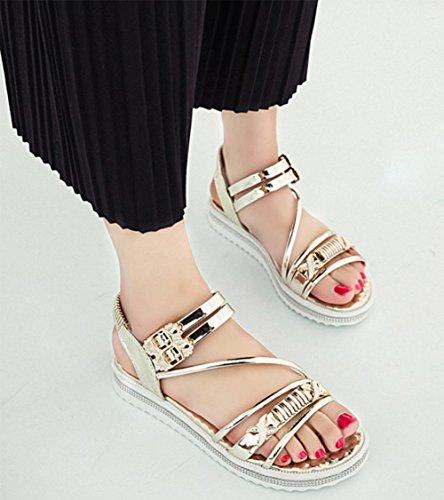 mujeres de las sandalias del verano del rhinestone de los zapatos de cuero sandalias de patente hebilla hembra confortables estudiantes Gold