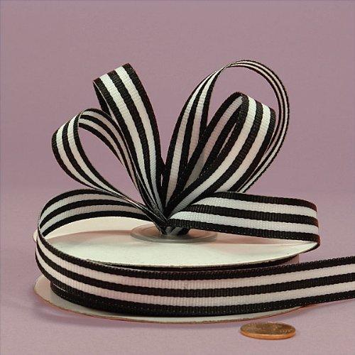 Black Jenna Striped Grosgrain Ribbon 5//8 X 25Yd