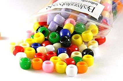 300 Assorted Opaque Color 8mm x 6mm Large 3.5mm Hole Plastic Pony Beads in a Mix