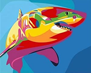 """iCoostor Paint by Numbers DIY Acrylic Painting Kit for Kids & Adults Beginner – 16"""" x 20"""" Whale Pattern"""