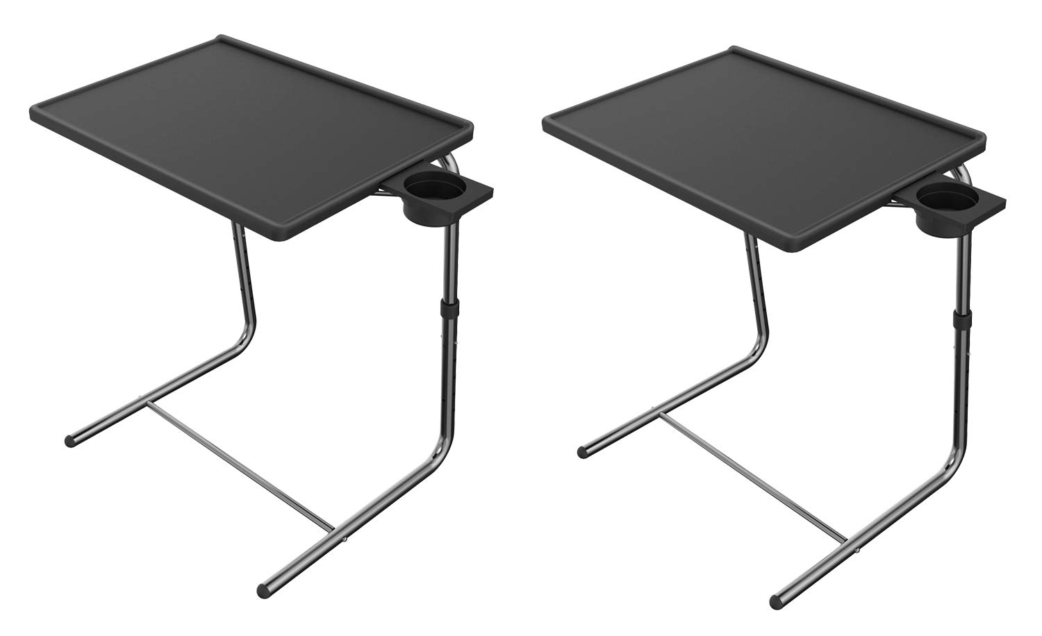 Adjustable TV Tray Table - TV Dinner Tray on Bed & Sofa, Comfortable Folding Table with 6 Height & 3 Tilt Angle Adjustments by HUANUO (2 pack) by HUANUO