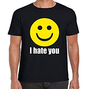 Fresh Tees I Hate You Smiley Face Emoji shirt Funny shirt Humor T-shirt (X-Large, Black)