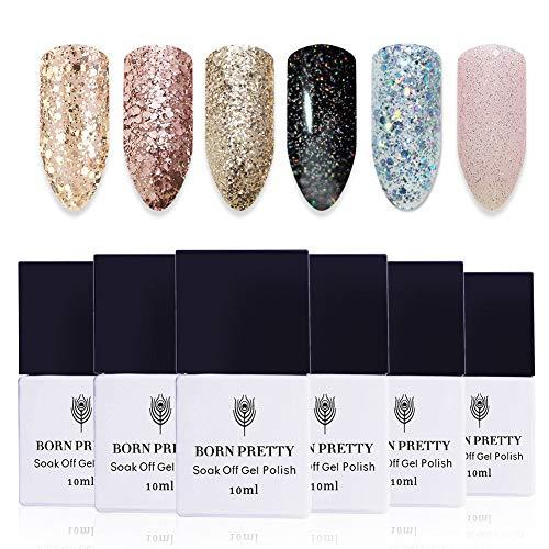 BORN PRETTY Nail Art UV Glitter Gel Polish Soak Off Shining Polish Varnish (Glitter 6 bottles)