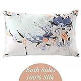 ZIMASILK 100% Mulberry Silk Pillowcase for Hair and Skin Health, with Hidden Zipper,Both Side Silk,Floral Print, , 1pc (Queen 20''x30'', pattern7),Gift Box