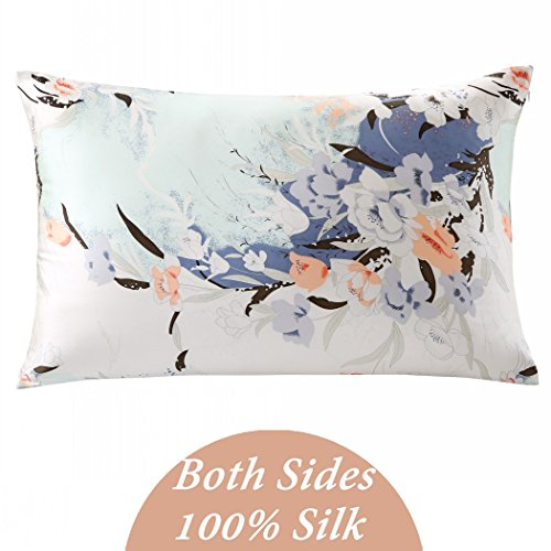 ZIMASILK 100% Pure Silk Pillowcase for Hair and Skin Health, Floral Print, Gift Packed,1pc (Standard20''x26'', pattern7) (Silk Spray Perfume)