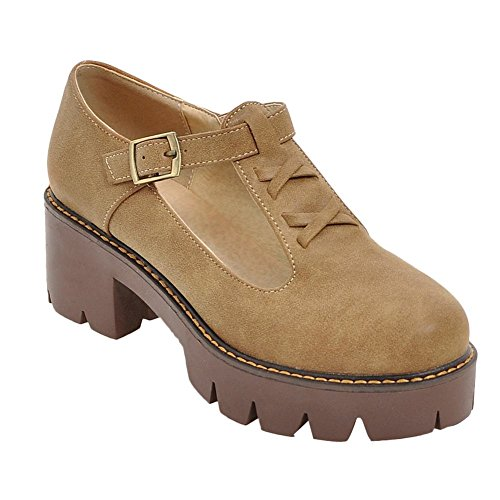 Carolbar Women's Retro Western Mid Heel T-strap Platform Court Shoes Yellow